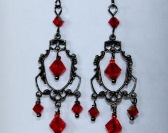 Earrings Chandelier,crystal earrings , red earrings,red earrings,gunmetal earrings, red crystal earrings,garnet earrings