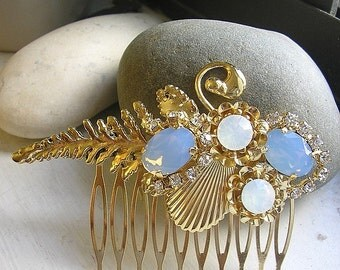 Bridal hair comb - Gold Leaf with swarovski White and Blue Opal Head Piece, shabby chic hair comb, vintage style, wedding hair accessories,