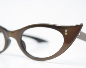 Brown Catseye glasses vintage glasses frames cat eye sunglasses