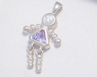 925 sterling silver cubic zirconia light purple / lavender birthstone with clear cz head girl with dress on  pendant or charm