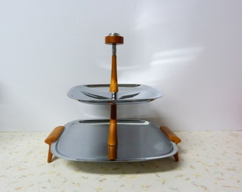 Vintage Mid Century Modern Gourmates By Glo Hill 2 Tier Chrome Serving Tray With Bakelite Handles and Feet.Modern Mid Century