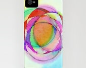 Geometric Phone Case - Eliptical Abstract Watercolor Painting - Designer iPhone Samsung Case