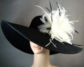 Kentucky Derby Hat, BLACK Derby Hat with White Feathers,Dress Hat ,Church Hat ,BLACK Hat Wide Brim Wedding Tea Party Ascot Horse Race