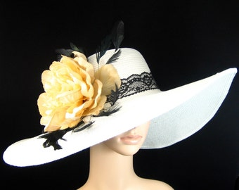 WHITE Kentucky Derby Hat Fascinator Derby Hat Dress Hat Church Hat Wide Brim Tea Party Ascot with champagne gold flower ,black lace band