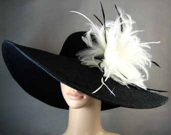 Kentucky Derby Hat, BLACK Derby Hat with White Feathers,Dress Hat ,Church Hat ,BLACK Hat Wide Brim Wedding Tea Party Ascot Horse Race