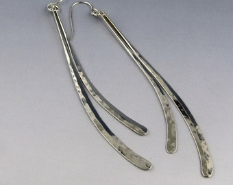 Earrings - Long Hammered Curves, Sterling Silver