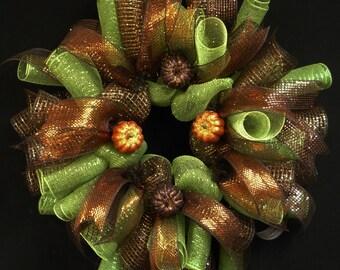 Fall Wreath, Chocolate Moss Green, Poly Mesh Wreath, Door Wreath, Wreaths for the Door (864)