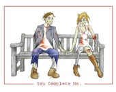 you complete me zombie couple valentines day card 8.5x5.5