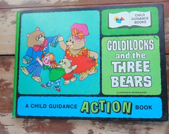 ACTION BOOK. Goldilocks Three Bears. movable book. Child Guidance. vintage 1970s. childrens book. gift idea.