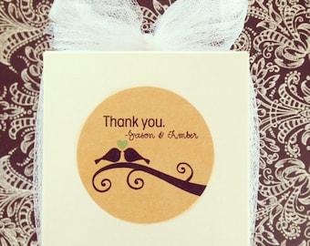 custom wedding bird stickers, kraft wedding sticker, brown kraft wedding label, personalized wedding stickers