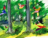 Joyful Birds in Katonah Woods, Gouache and Collage. Limited Edition print one of 25. FREE postage