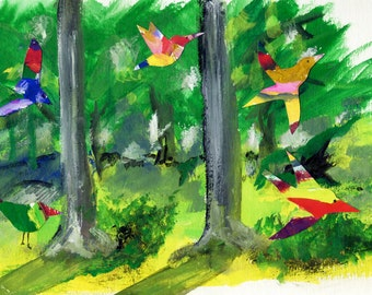 Joyful Birds in Katonah Woods, Gouache and Collage. Limited Edition print one of 25. FREE world postage