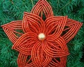 MOVING SALE-Layered Red French Beaded Flower Ornament