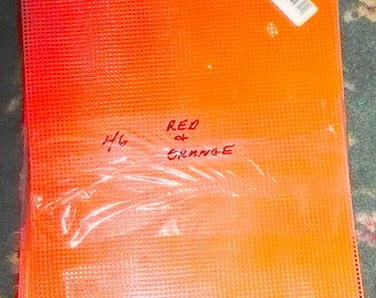 Lot Of 46 Sheets  - Red & Orange - 7 Count Plastic Canvas Sheets - 10 1/2 x 13 1/2