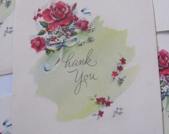 Lot of 5 Small Thank You Cards  - Unused Circa 1940s