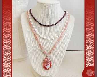 "16"" Necklace Pink Cherry Quartz Purple Jasper Cream Pearls Silver Chain 3-Strand Stones Mexican Crazy Lace Agate Pendant Fancy Pewter Clasp"
