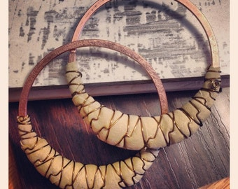"""Recycled Leather and Wire Hoops - Earrings for Stretched Lobes - 3"""" Diameter - Gauges"""