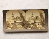 vintage stereocard photograph : keystone stereo card cathedral plaza mermosillo mexico paper ephemera mixed media