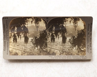 vintage stereocard photograph : keystone stereo card ixtacihuatl mexico paper ephemera mixed media