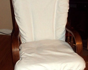 Nursery Glider Rocker SlipCover for your cushions -White Cotton or Your Choice Fabric