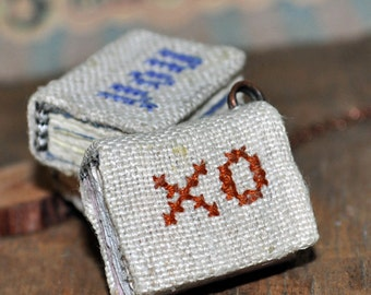 XO, tiny linen journal book for a necklace, handmade, miniature, jewelry art, accessory,steampunk, JunqueTreasures