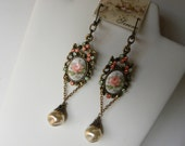 RESERVED Rose Cameo Earrings Long Shabby Chic Chandelier Victorian Peach Roses Cameo Earrings, ©2012DonnaJameson