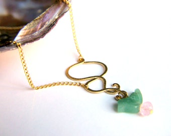 Necklace: Cij Green Aventurine, gem, gemstone, pink swarovski crystal bead, 18k Gold plated fitting and chain,