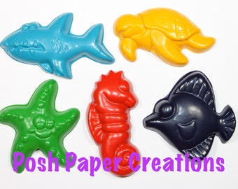 10 sea creature crayons - in cello bag tied with ribbon - choose your colors