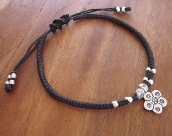 Stylish Cord Bracelet with Silver Flower beads pendant / silver 925 / Free size