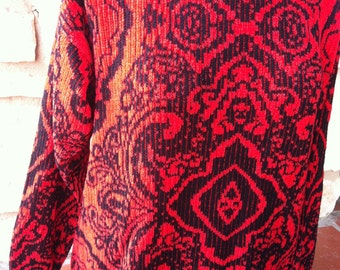 Red Black Mirror Knit FairIsle Pullover Sweater