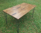 Reclaimed Wood Table Wide Plank Wood Table Industrial Table