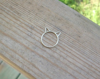 Kitty Ring. Cat Ring. Silver Cat  Ring.