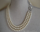Long Pearl Bridal Necklace Set with Earrings Rhinestone and 3 Strands Swarovski Pearls Ivory or choice of color bridal wedding jewelry sets