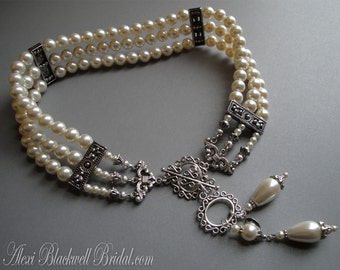 Pearl Choker Necklace Set Victorian Great Gatsby style Elegant 3 Strands Downton Abbey bridal wedding jewelry white or ivory