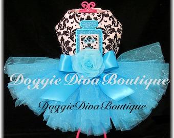 Large Dog Tutu Dress Damask & Turquoise Parfum Perfume  Couture