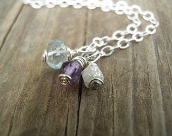 Raw Stone Jewelry April Birthstone Tiny Raw Diamond Necklace, Diamond Aquamarine Amethyst Necklace, April Jewelry, Gold Filled, Silver, Sale
