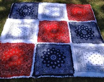 Picnic Blanket  Red White Blue Bandana Rag Quilt