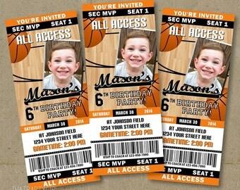 Basketball Birthday Party Ticket Style Invitations - Printable DIY