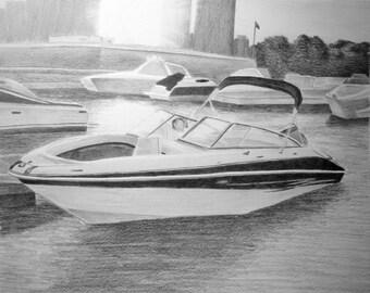 Custom Pencil Drawing From Your Photo - 8x10 Boat Landscape Car Portrait Original Pencil Sketch Art