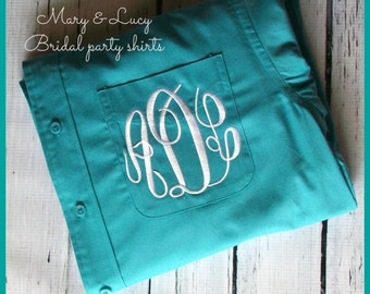 Monogrammed Button Down shirt, Bride or Bridesmaid, 28 Colors to choose from, Wedding day party cover up,