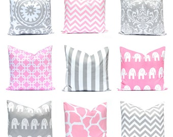 Baby Pink Pillow Covers - Decorative Pillow Covers - Pink Nursery Pillow Covers - Throw Pillow Covers - Pink and Gray Cushion Covers -
