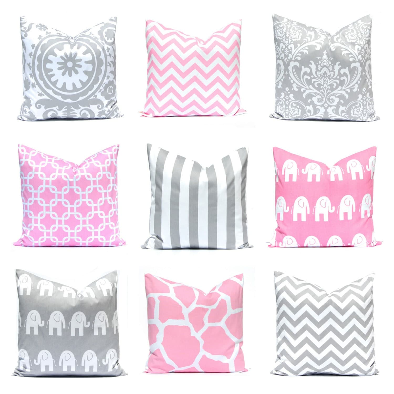 Pink Decorative Pillow Covers : Pink Pillow Covers Gray Pillows Nursery Decor by CompanyTwentySix