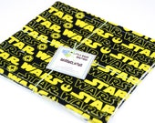 Eco Friendly Washcloth or Cloth Wipes with Soft Terrycloth -Set of 2 in Black Yellow Star Wars Fabric