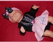 NB skirted onesie headband set hearts cupcakes black pink turquoise blue