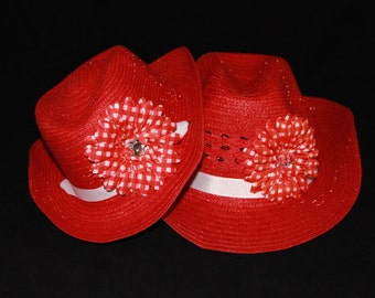 Mommy and Me Cowgirl Hats - Womens Cowboy Hat - Girls Western Hat - Red and White Hats - CBS5
