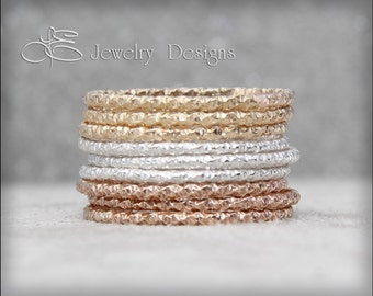 1 FACETED STACKING RING Sterling Silver, Rose Gold, Gold Stacking Ring - stacking rings sparkly glitter stack stackable thin stacking rings