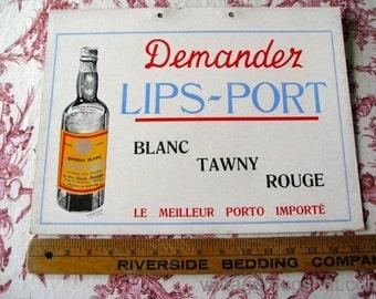Vintage French Port  Sign 1930's  Demander Belgium  11 3/4 X 15 3/4  Original On Thick Board PORTUGAL