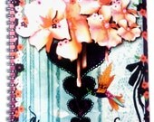 CHERISH the LITTLE THINGS Artsy Spiral Notebook with cherry blossoms,hearts,lace,birds,watercolor,handrawn lines,flowers,turquoise,paintdrop
