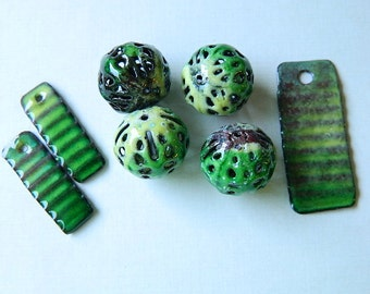 Green Torch Enameled Pendant and Earring Components with  Four Filigree Beads Matching Set