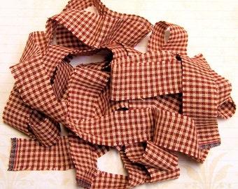 1 yard Homespun Cotton Fabric Ribbon Red Cream Small Check